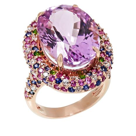 "Rarities Rose Gold-Plated Oval Kunzite Multigem ""Confetti"" Ring"