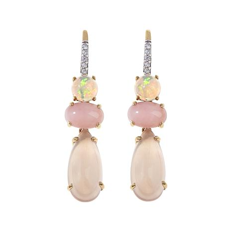 Rarities Rose Quartz, Opal and Gem Drop Earrings