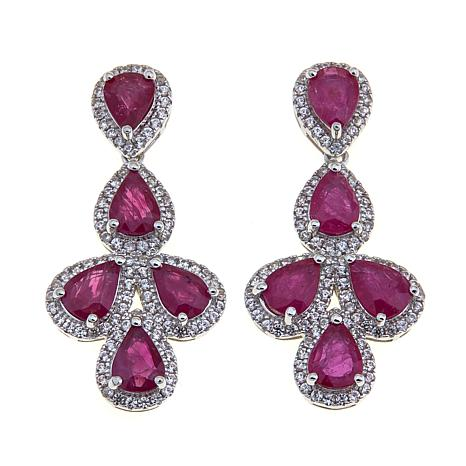 Rarities Ruby & White Zircon Pear-Shaped Drop Earrings