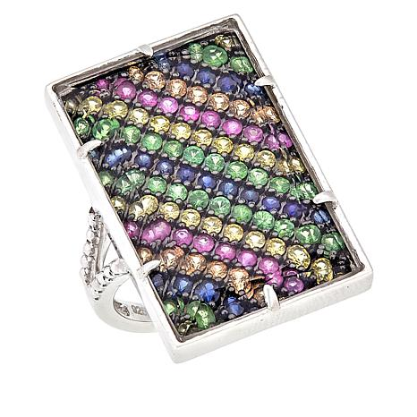 Rarities Sterling Silver Multicolored Sapphire Rectangular Ring