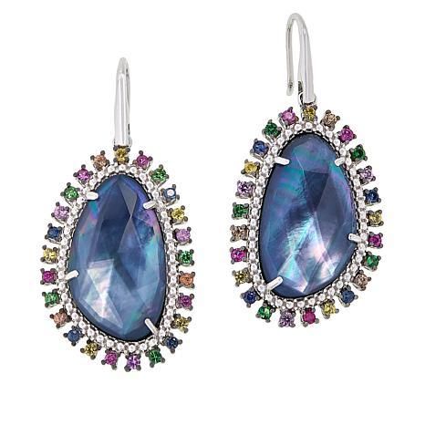 Rarities Sterling Silver Sapphire Doublet and Multi-Gem Drop Earrings