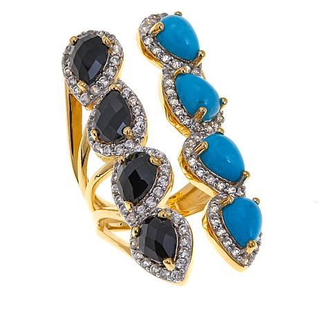 Rarities Turquoise, Black Spinel and White Zircon Ring