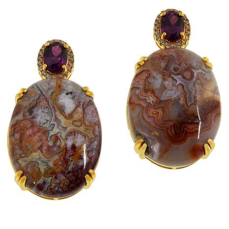 Rarities Variegated Agate, Purple Garnet and Zircon Drop Earrings