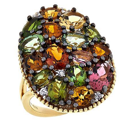 Rarities Vermeil Multicolor Tourmaline and Zircon Ring