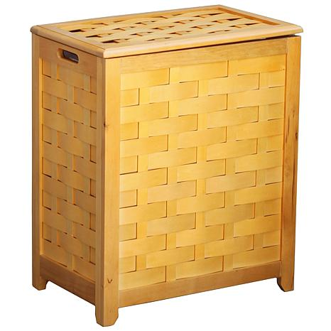 Rectangular Veneer Wood Laundry Hamper