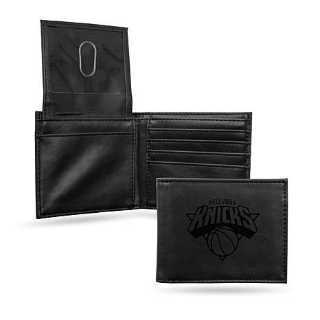 Rico NBA Laser-Engraved Black Billfold Wallet - Knicks