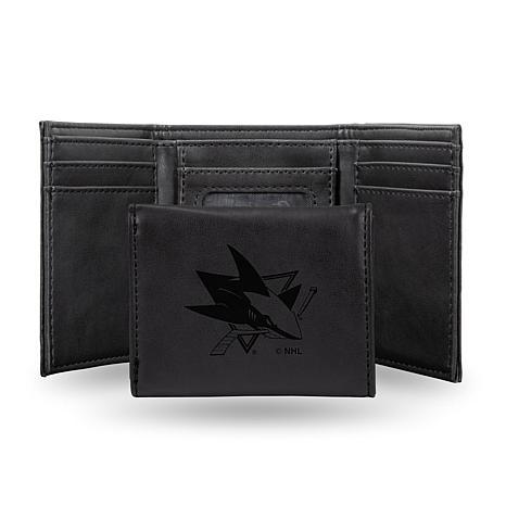 Rico Sharks Laser-Engraved Black Trifold Wallet