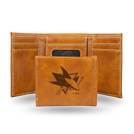 Rico Sharks Laser-Engraved Brown Trifold Wallet