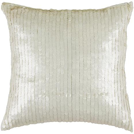 "Rizzy Home 18"" x 18"" White Sequin Accent Pillow"