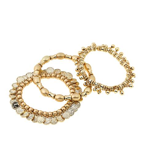 "R.J. Graziano ""Coin Club"" Beaded 3-piece Stretch Bracelet Set"
