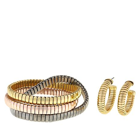 R.J. Graziano Snake Chain Twisted Bracelet and Hoop Earrings Set