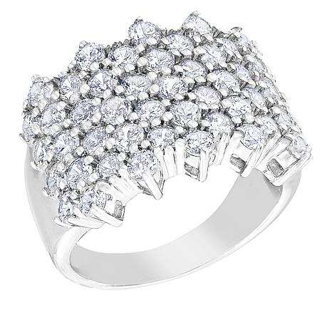 "Robert Manse ""CZ Romanse"" Sterling Silver Multi-Row CZ Band Ring"