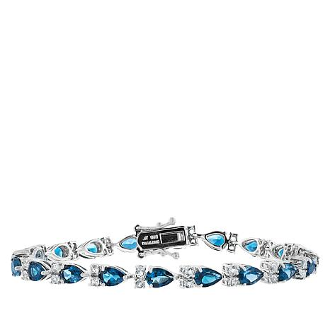 "Robert Manse ""Gem RoManse"" Blue and White Topaz Station Bracelet"