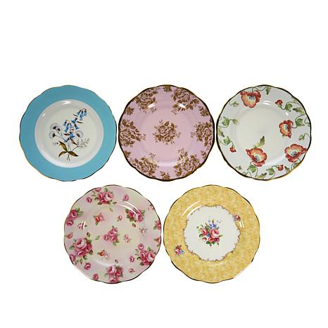 """Royal Albert 100 Years Collection 5-piece 8"""" Plate Set - 1950 to 1990"""