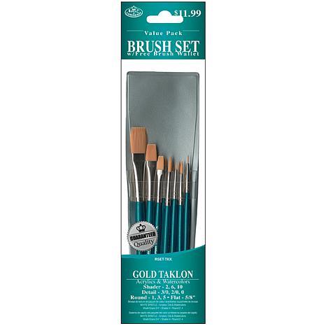 Royal Langnickel Gold Taklon 10pc Blue-Handle Brush Set
