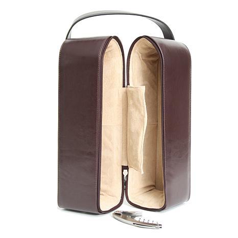 Royce Personalized Suede-Lined Double Wine Bottle Case