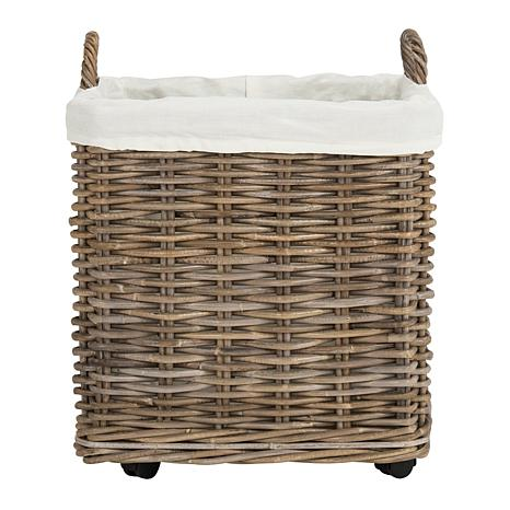Safavieh Amari Rattan Square Set Of 2 Baskets With Wheels   8510263 | HSN