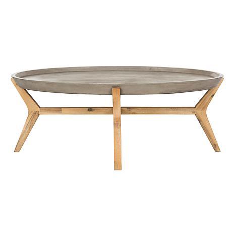 safavieh hadwin modern concrete oval coffee table - 8496303 | hsn