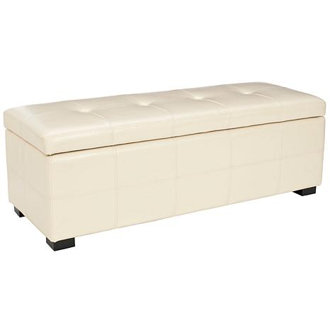 safavieh maiden tufted large storage bench flat cream