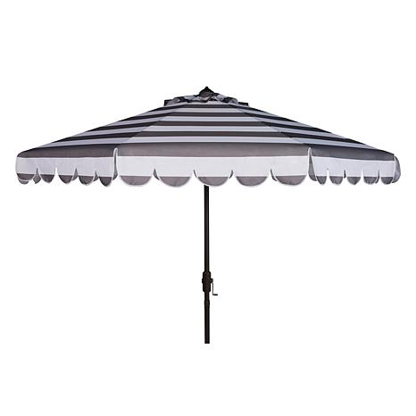 Safavieh Maui Single Scallop Striped 9' Crank Umbrella