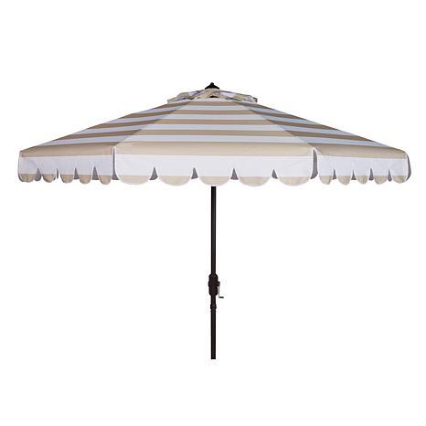 Safavieh Maui Single Scallop Striped 9' Crank Umbrella