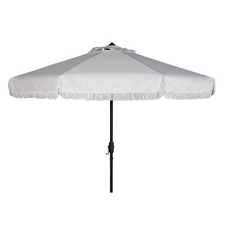Safavieh Milan Fringe 9' Crank Outdoor Umbrella