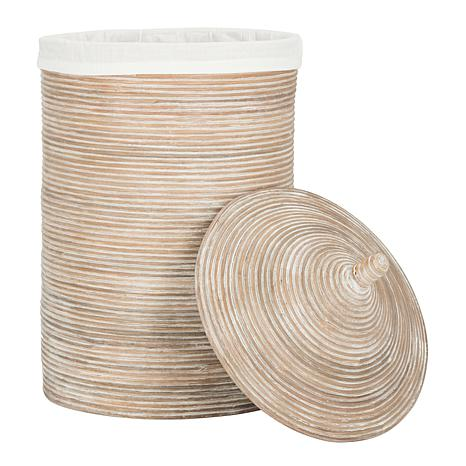 Safavieh wellington rattan storage hamper with liner 8510269 hsn - Wicker hampers with liners ...