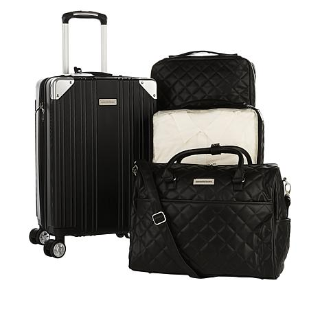 Samantha Brown Hardside Case, Quilted Satchel and Cubes 4-piece Set