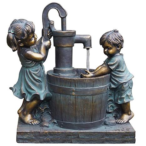 Santa's Workshop Poly Boy and Girl Fountain