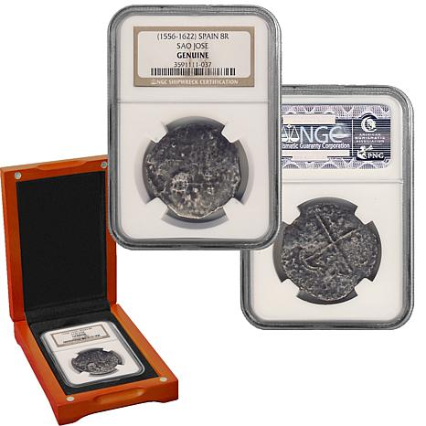 Sao Jose 8 Reales Shipwreck Recovery 90 Silver NGC Certified Coin