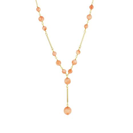 Séchic 14K Yellow Gold Angel Skin Coral Y-Drop Necklace