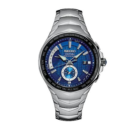 Seiko Coutura Men's Blue Dial Dual-Time Solar Watch