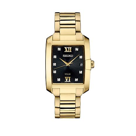 Seiko Men's Square Dial Goldtone Diamond-Accent Solar-Powered Watch