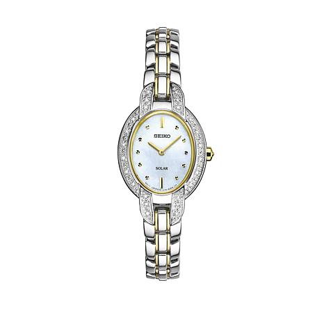 Seiko Women's 2-tone Mother-of-Pearl Dial Diamond-Accented Watch