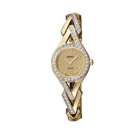 Seiko Women's Goldtone Crystal-Accented Solar-Powered Bracelet Watch