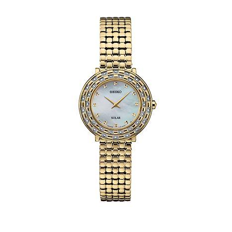 Seiko Women's Goldtone Diamond-Accented Solar-Powered Watch