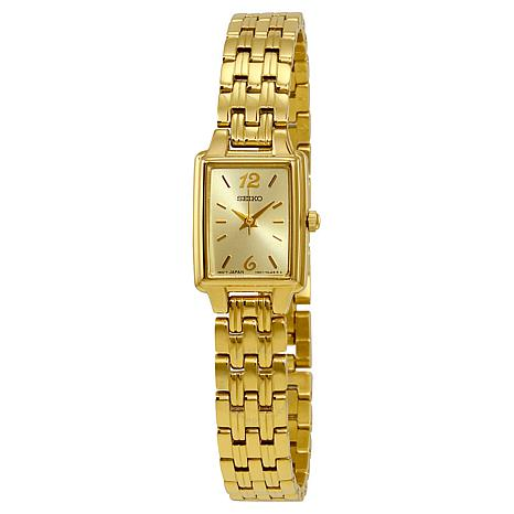 Seiko Women's Goldtone Stainless Steel Rectangular Dial Bracelet Watch
