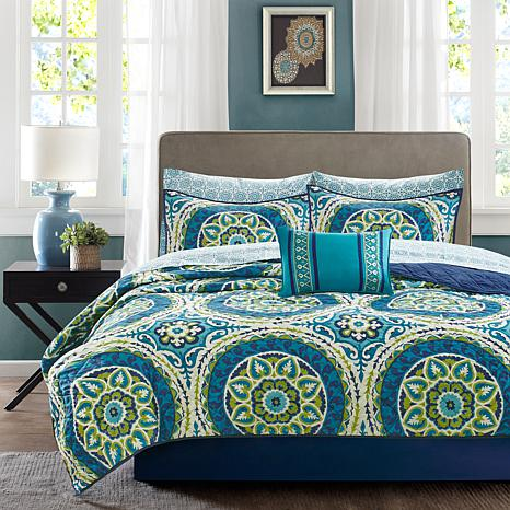 Serenity Full 8pc Complete Coverlet and Sheet Set-Blue