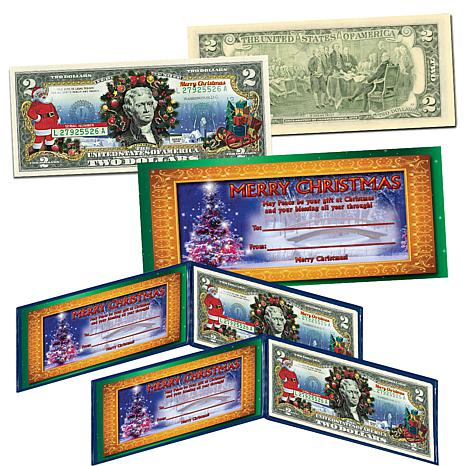 Set of 2 Christmas-Themed Colorized $2 Bank Notes
