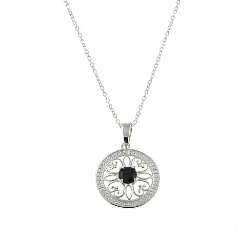 Sevilla Silver™ 0.60ctw Sapphire Diamond-Accented Pendant with Chain