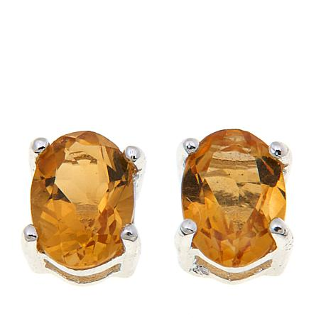 Sevilla Silver™ 0.84ctw Oval Citrine Stud Earrings