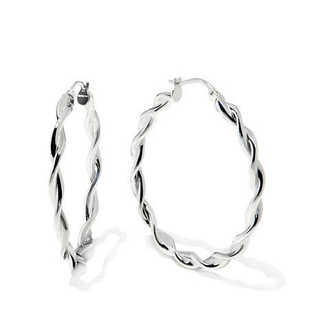 "Sevilla Silver™ 1-1/16"" Diameter Twisted Hoop Earrings"