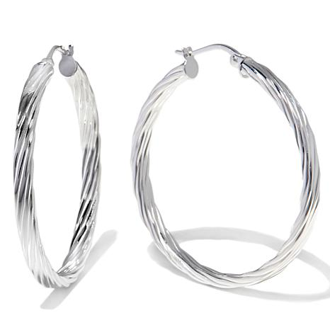 Sevilla Silver 1 9 16 Diameter Flat Twist Hoop Earrings