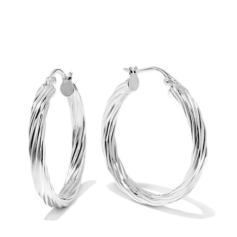 Sevilla Silver 1 Diameter Flat Twist Hoop Earrings