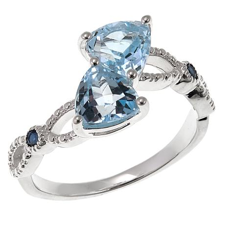 Sevilla Silver™ 1.56ctw Sky Blue Topaz and Sapphire Ring