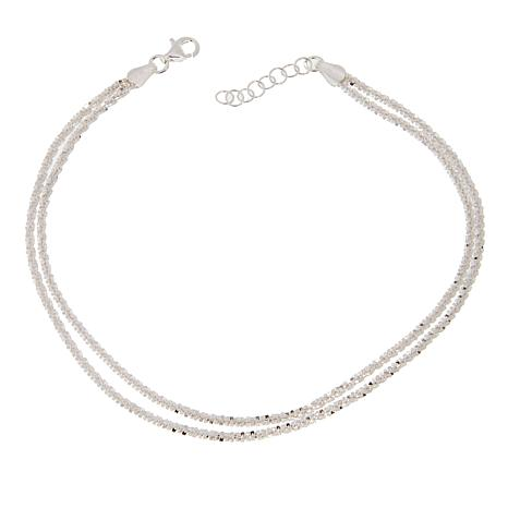 "Sevilla Silver™ 2-Row Sparkle Chain 9"" Anklet"