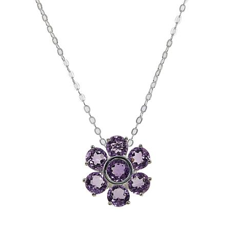"""Sevilla Silver™ 2.54ctw Amethyst Flower Pendant with 18"""" Chain"""