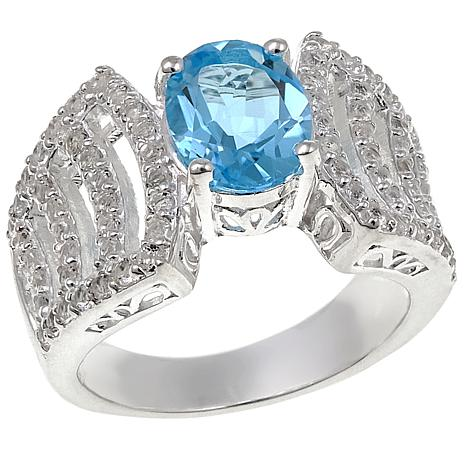 Sevilla Silver™ 2.62ctw Oval Blue Topaz and White Topaz Ring