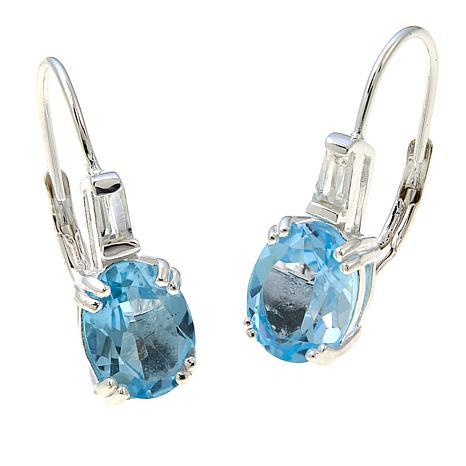Sevilla Silver™ 4.01ctw Oval Blue Topaz and White Topaz Drop Earrings