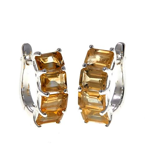 Sevilla Silver™ 4.24ctw Emerald-Cut Citrine Hugger Hoop Earrings